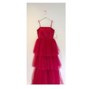 Custom made Mandy Moore red carpet dress in red.